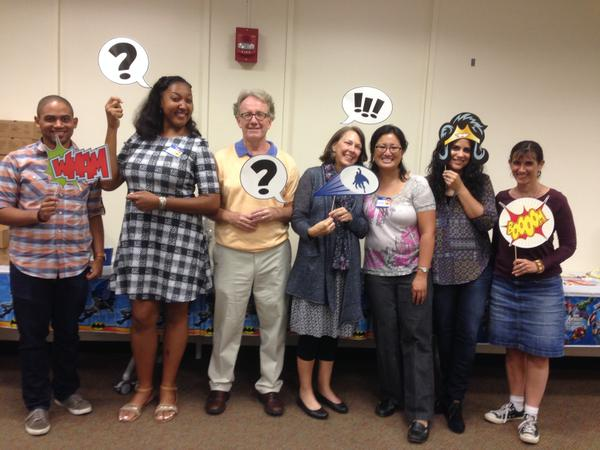 DC-area authors & illustrators, l to r: Theodore3, Shadra, Fred, Mary, Wendy, Hena, Me.  Photo/Theresa Wang